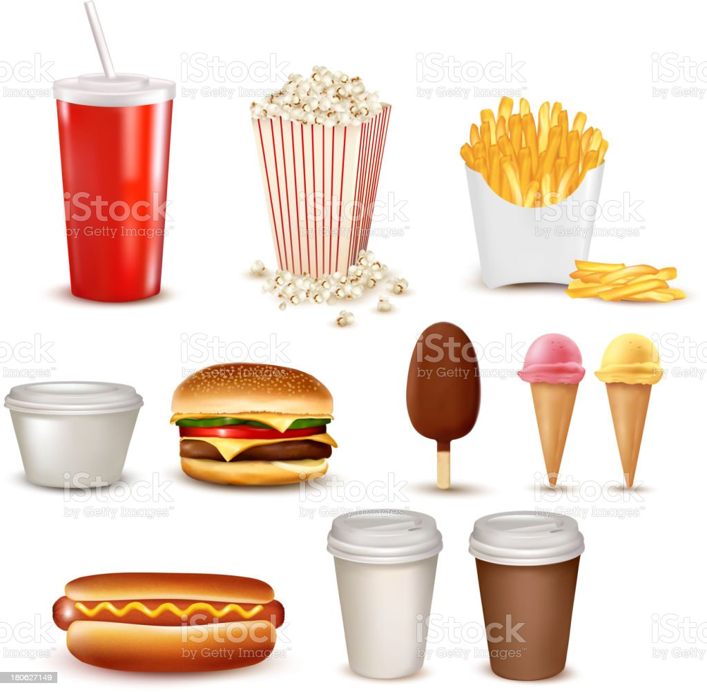 Big group of fast food products royalty-free stock vector art