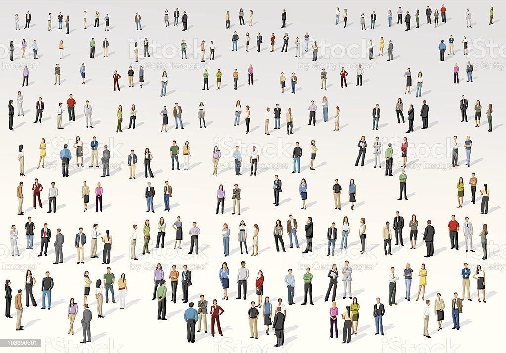 Big group of people vector art illustration