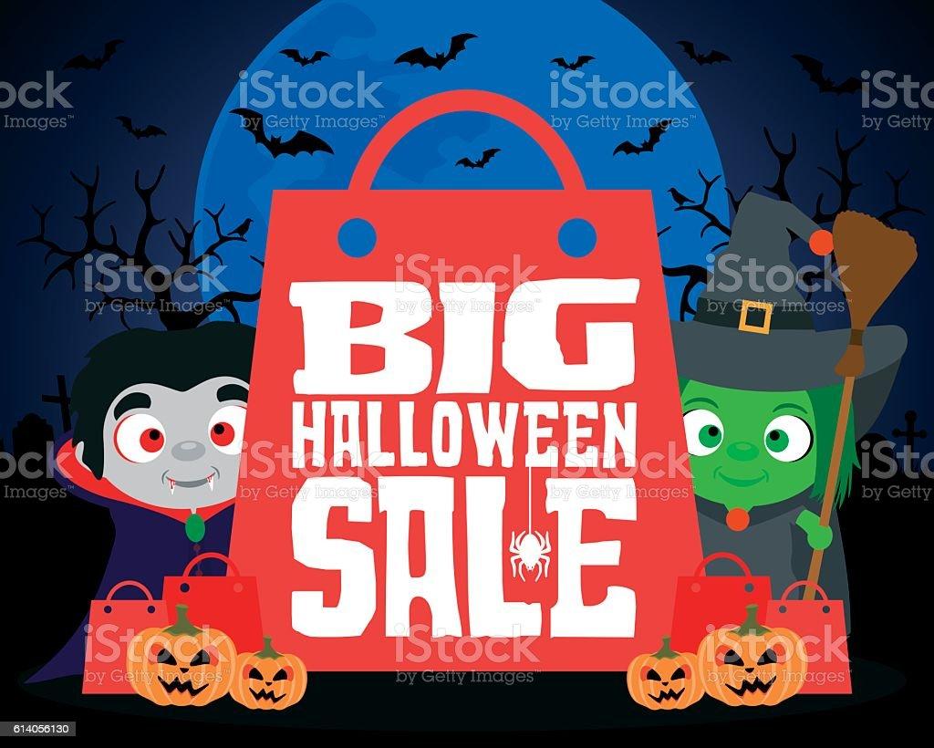 Big Halloween sale design background vector art illustration