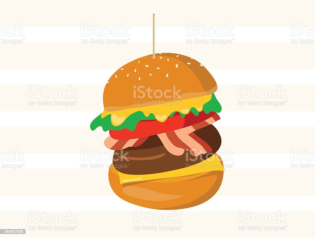 Big hamburger full with cheese, meat, bacon and vegetables vector art illustration
