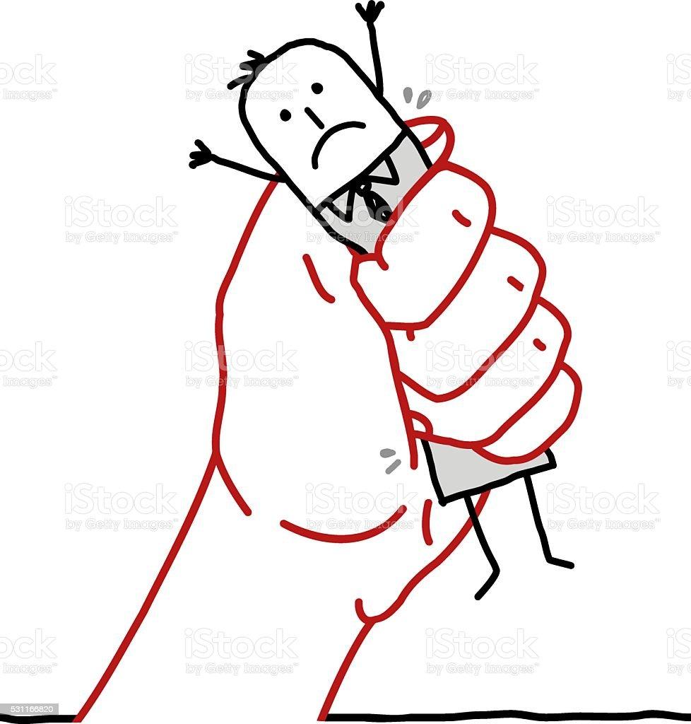 big hand and cartoon businessman - under pressure vector art illustration