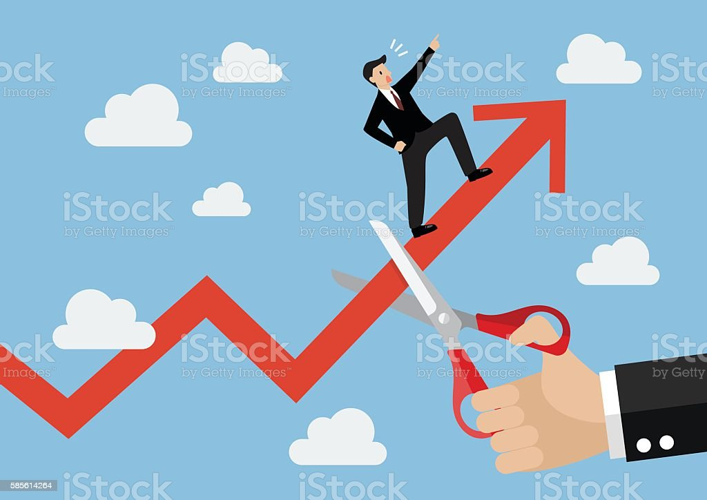 Big hand cutting growing graph of businessman vector art illustration