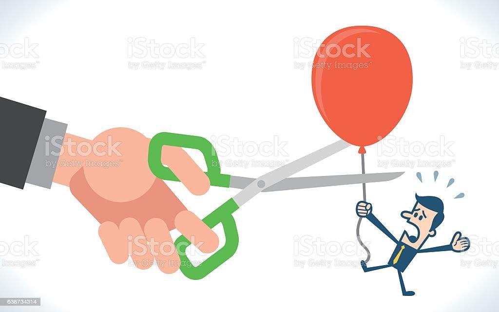 Big Hand Cutting Rival Balloon vector art illustration