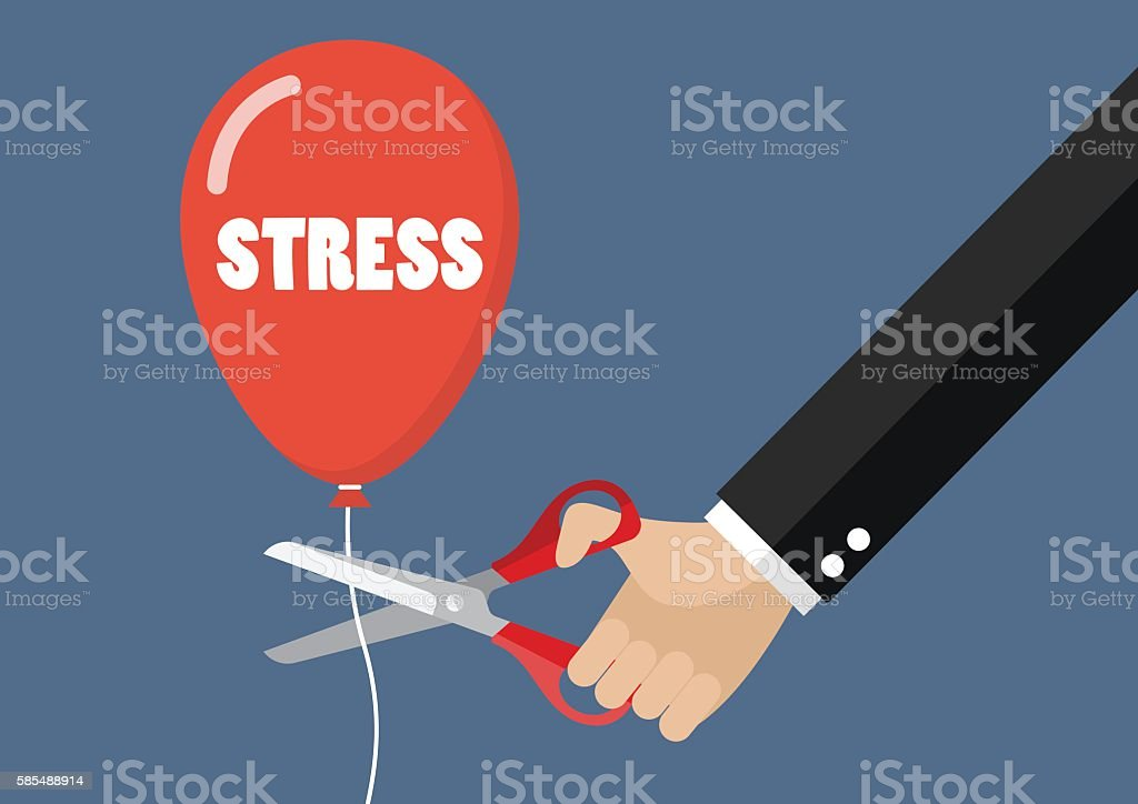 Big hand cutting stress balloon string with scissors vector art illustration