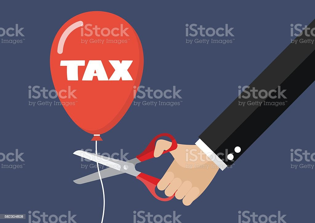 Big hand cutting tax balloon string with scissors vector art illustration