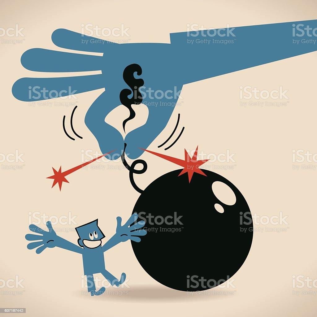 Big hand grabbing the wick (extinguish, put out bomb flame) vector art illustration