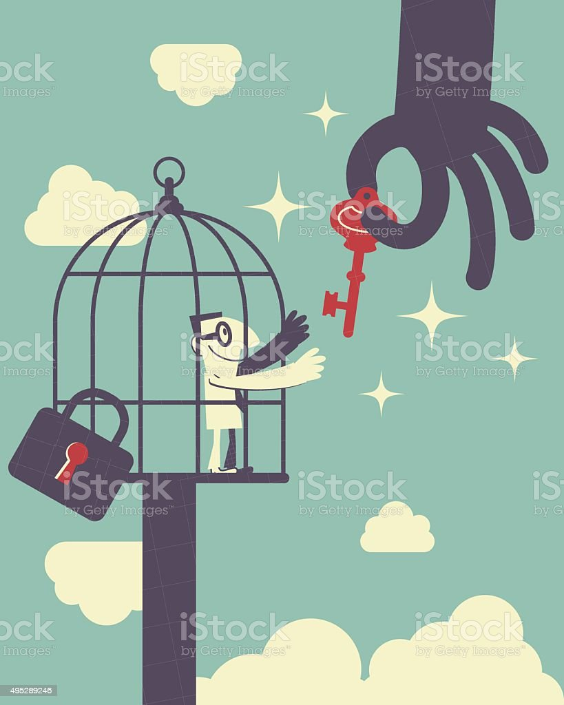 Big hand holding a Key, man in birdcage catching it vector art illustration