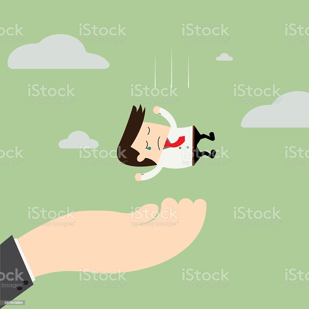 big hand is caching falling businessman. Consulting, assistanc vector art illustration