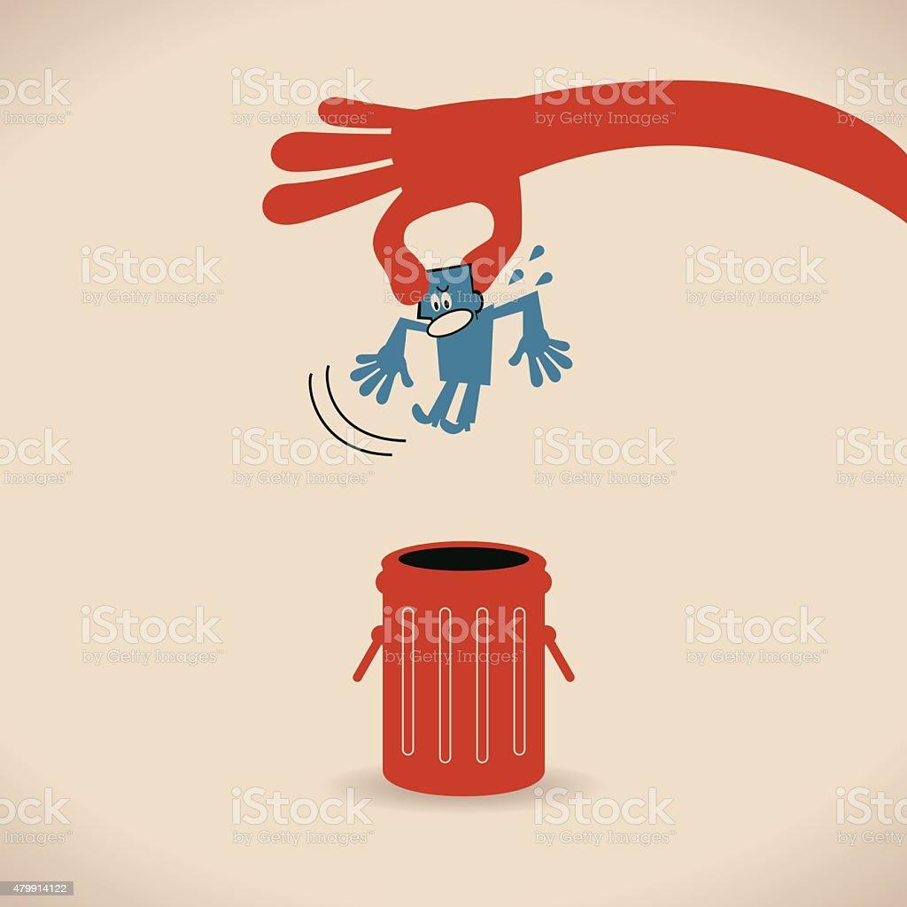Big hand throwing (putting) man (businessman) into trash can vector art illustration