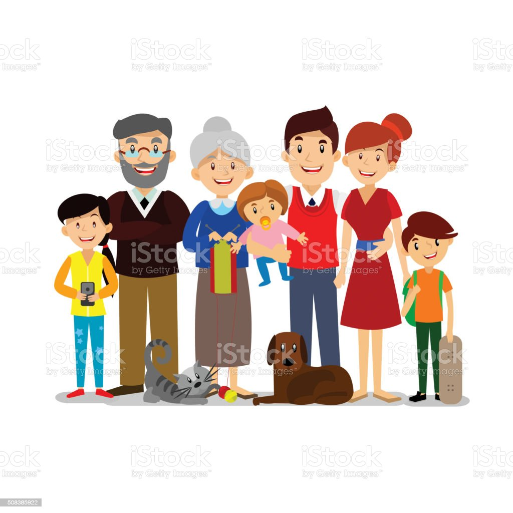 Big Happy Family. Parents with Children. Father, mother, childre vector art illustration