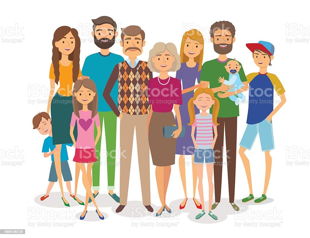 Big happy family. Several generations vector art illustration