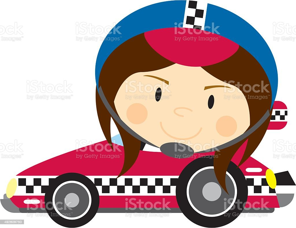 Big Head Sports Car Driver vector art illustration