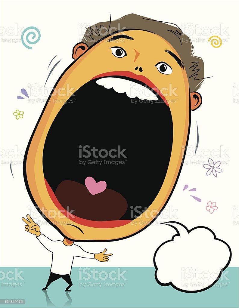 Big head surprise vector art illustration