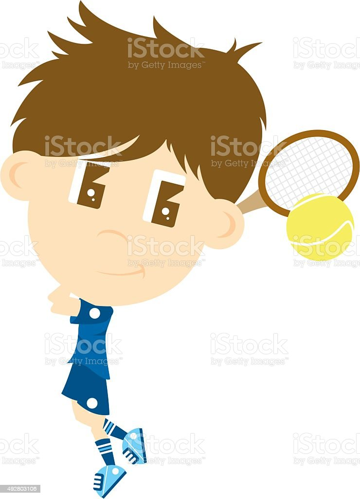 Big Head Tennis Boy vector art illustration