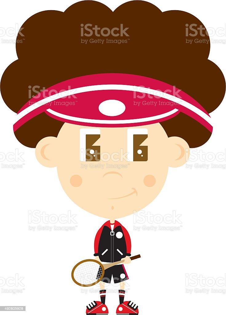 Big Head Tennis Boy vector art illustration