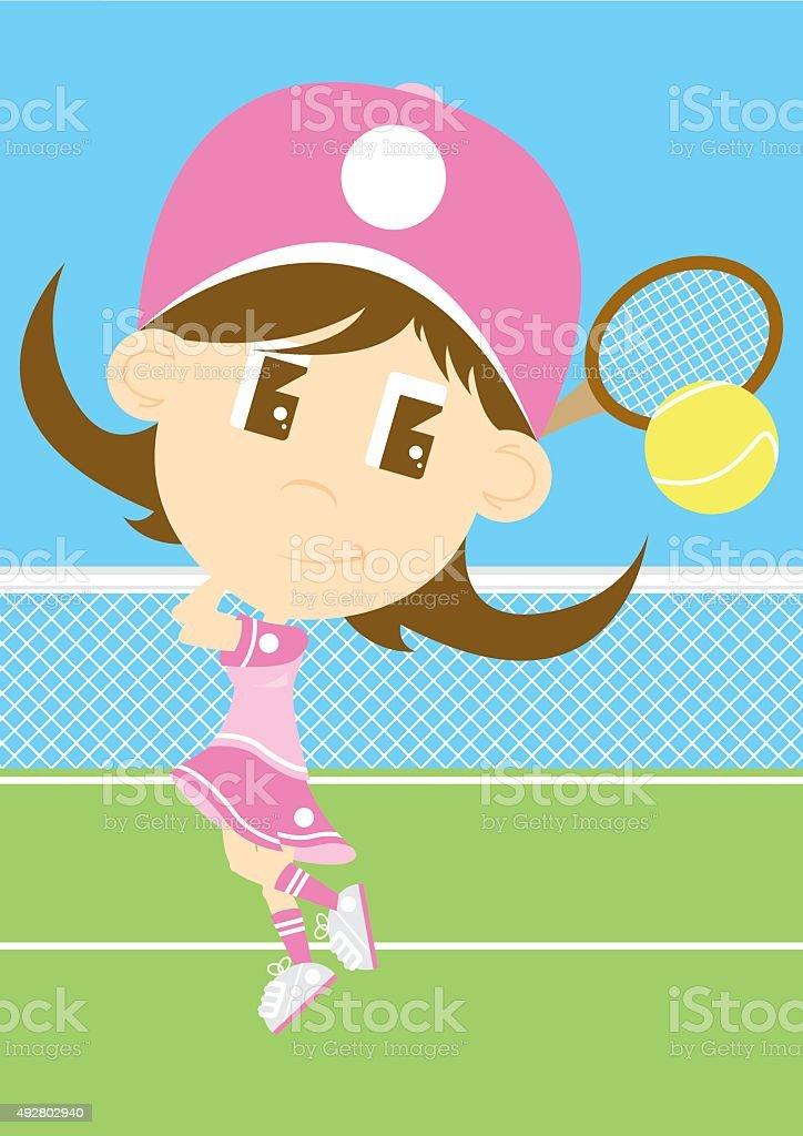 Big Head Tennis Girl on Court vector art illustration