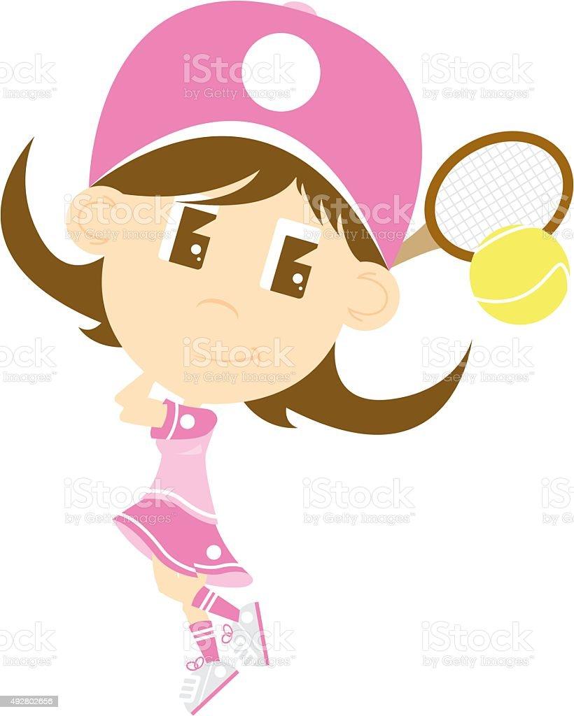 Big Head Tennis Girl vector art illustration