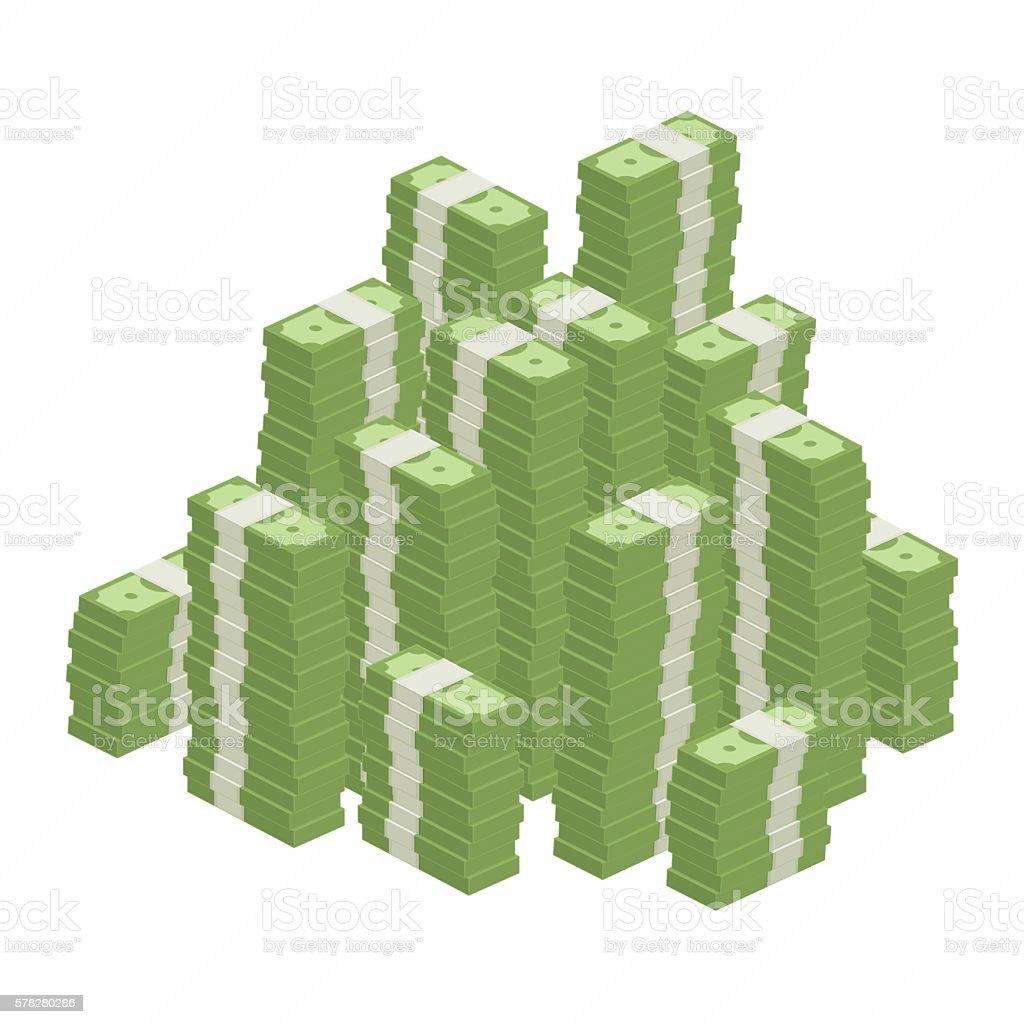 Big heap rolls of money vector art illustration
