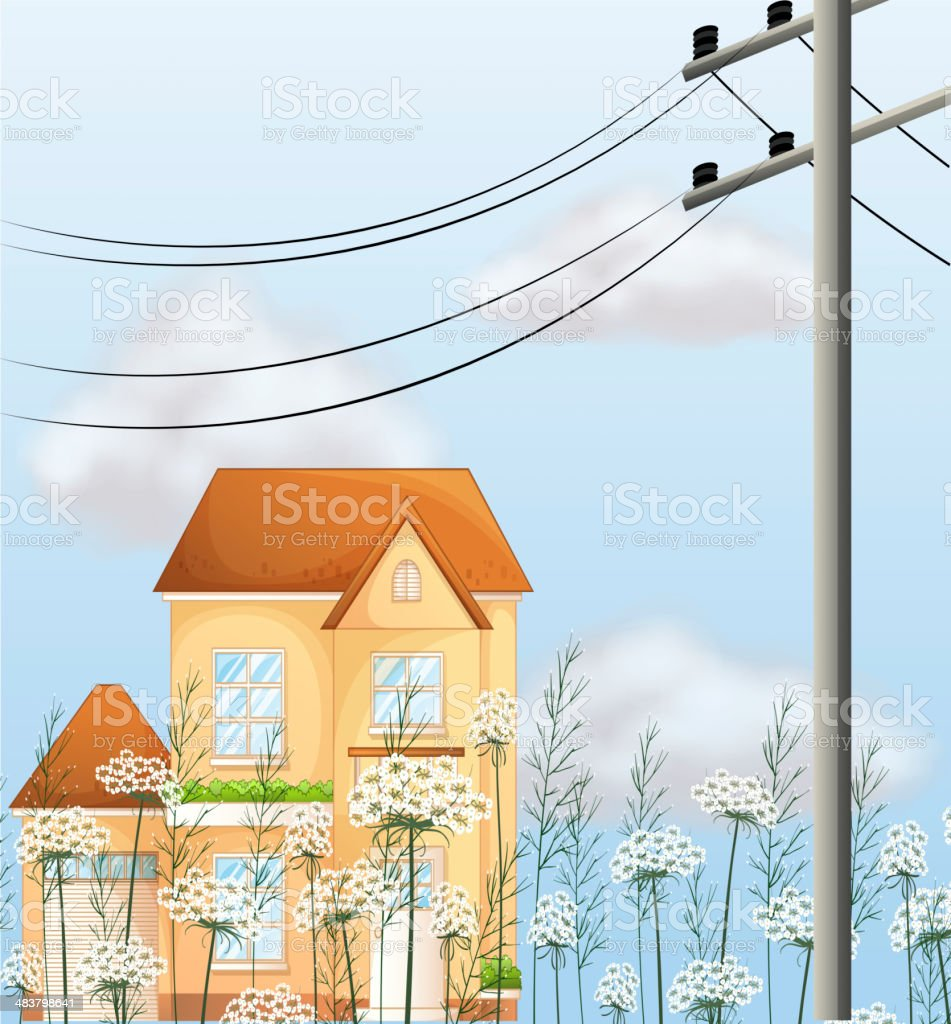 Big house near an electrical post royalty-free stock vector art