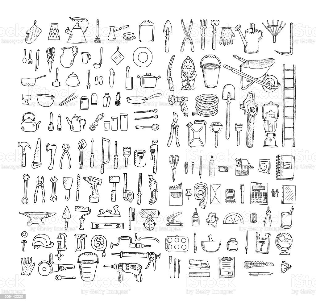 Big household objects set. vector art illustration