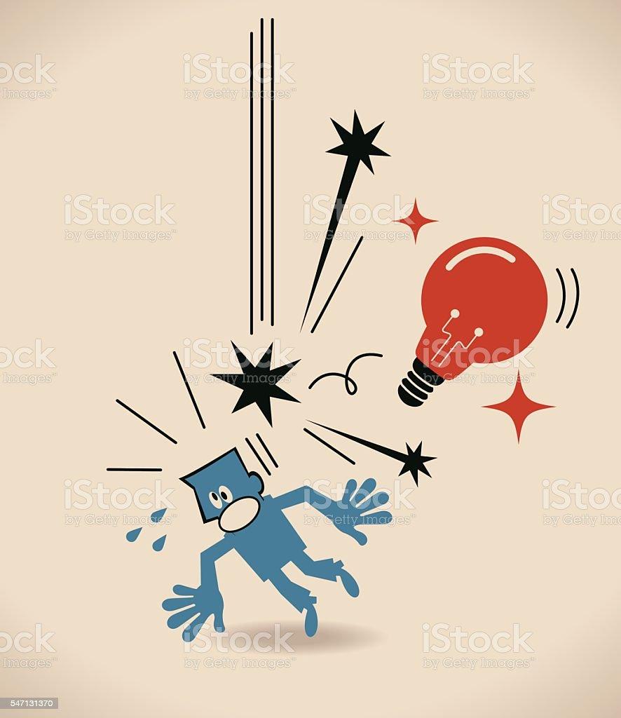 Big idea light bulb falling and hitting businessman (designer, author) vector art illustration