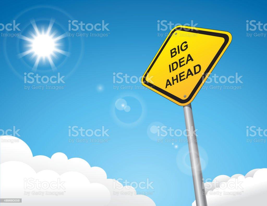 Big idead road sign vector art illustration
