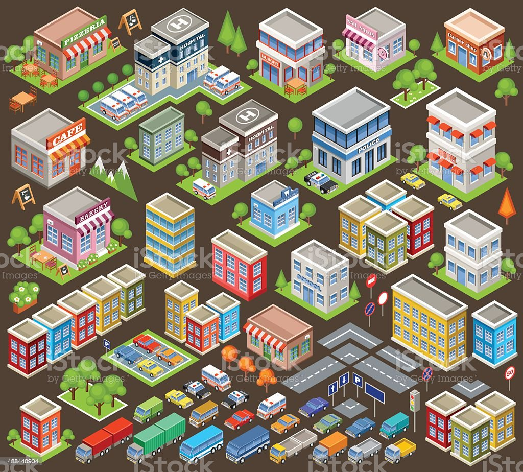 Big isometric set of buildings and houses vector art illustration