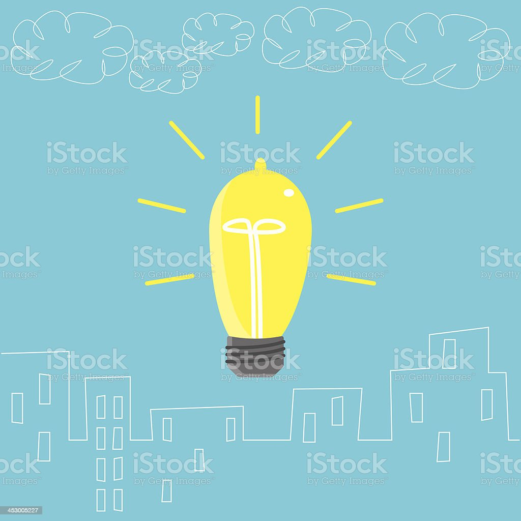 Big Light Bulb in the City royalty-free stock vector art