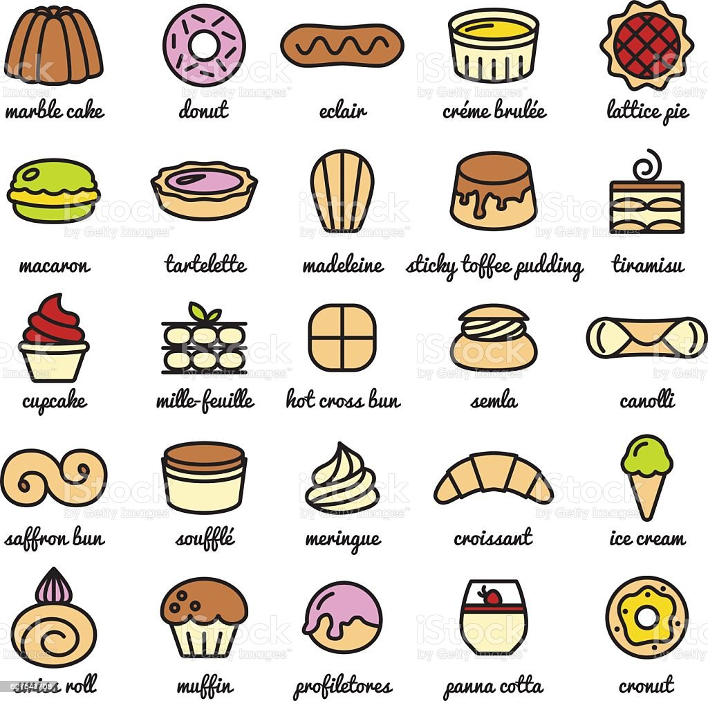 big line icon set of world best desserts and sweets vector art illustration