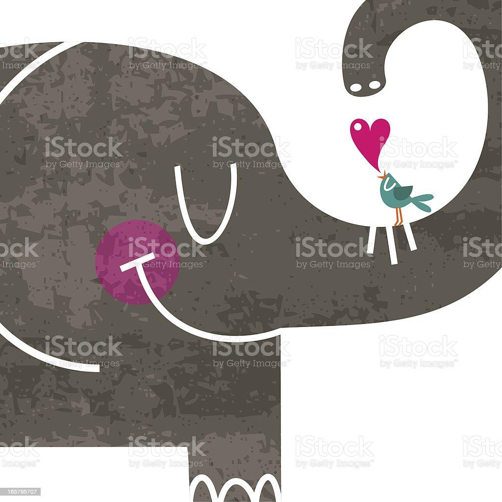 Big love elephant bird cute illustration vector vector art illustration