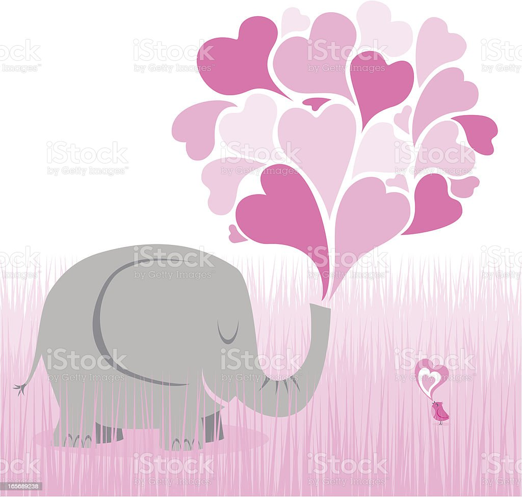 Big love elephant bird heart pink cute animal friends vector art illustration