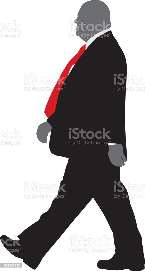 Big Man Walking In Suit vector art illustration