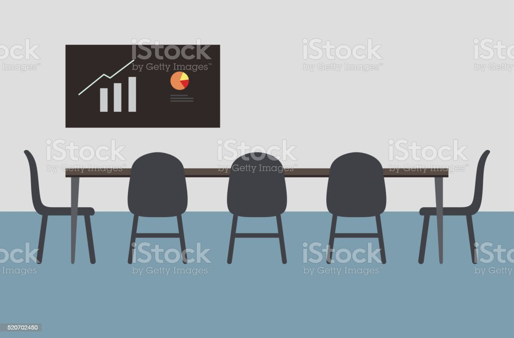 big meeting room with big table, chairs vector art illustration