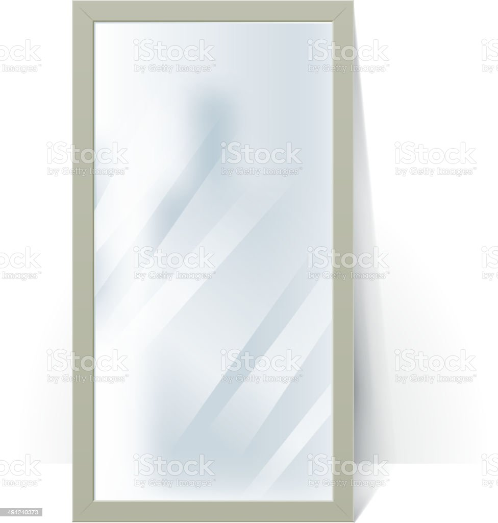 Big mirror with blurry reflection at the wall illustration. vector art illustration