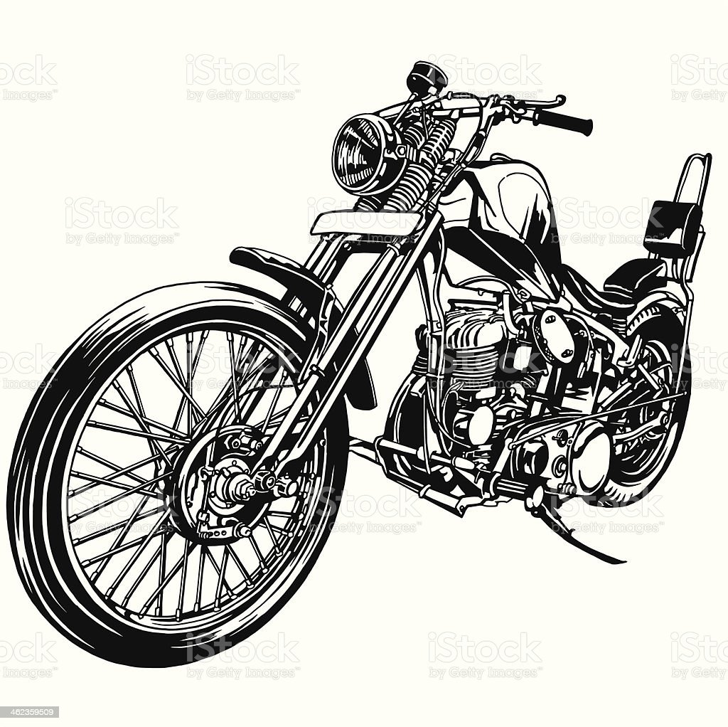 big motorcycle vector art illustration