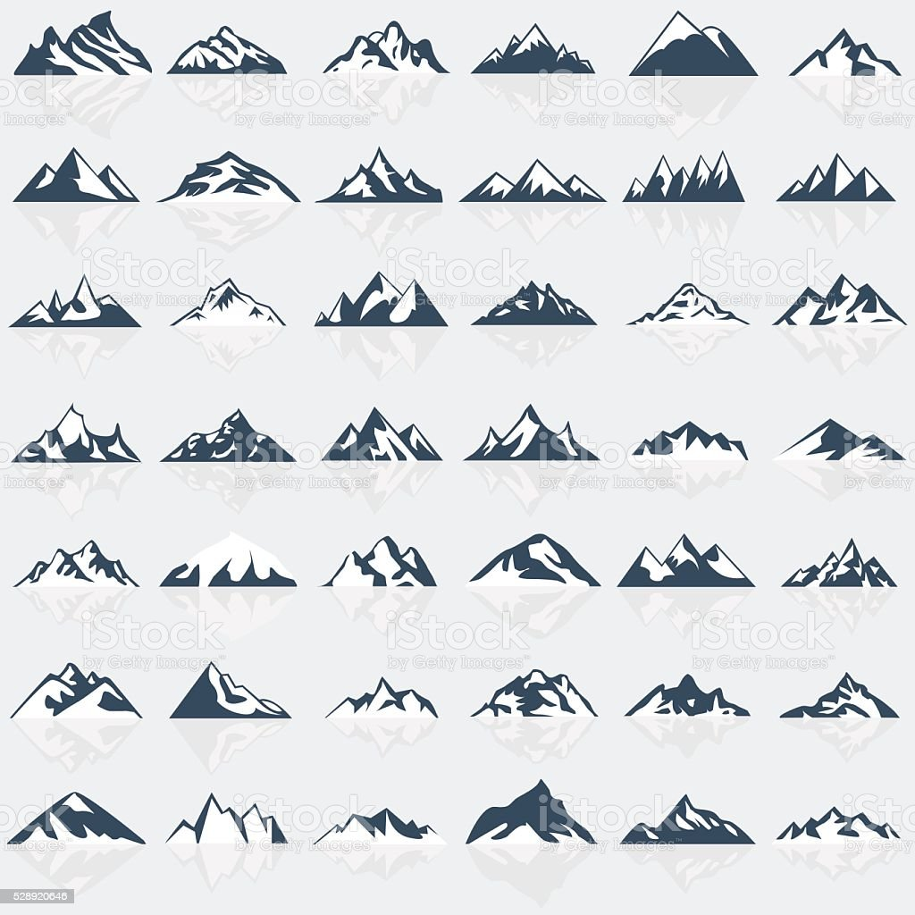 Big mountain icons set. vector art illustration
