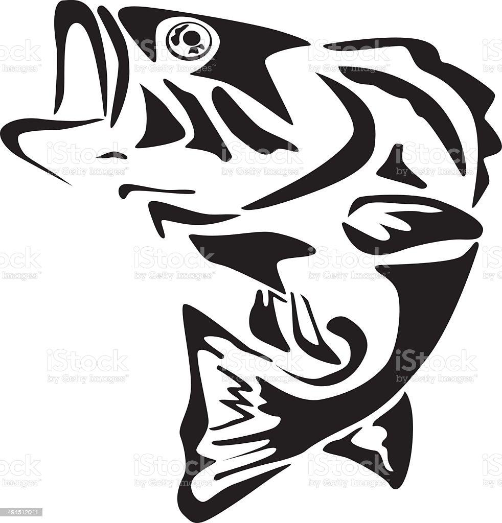 Big mouth bass fish vector art illustration