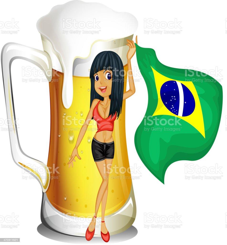 Big mug of beer with a brazilian lady royalty-free stock vector art