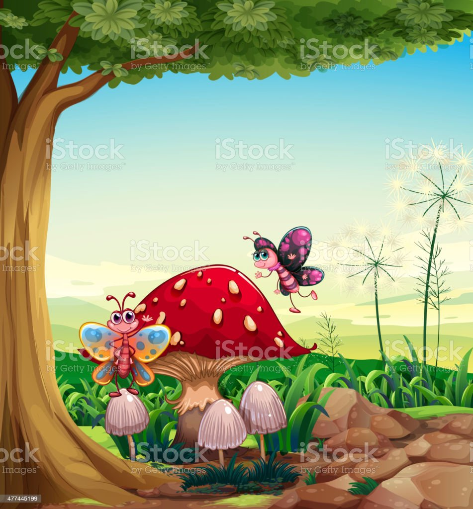 big mushroom near the tree with butterflies royalty-free stock vector art