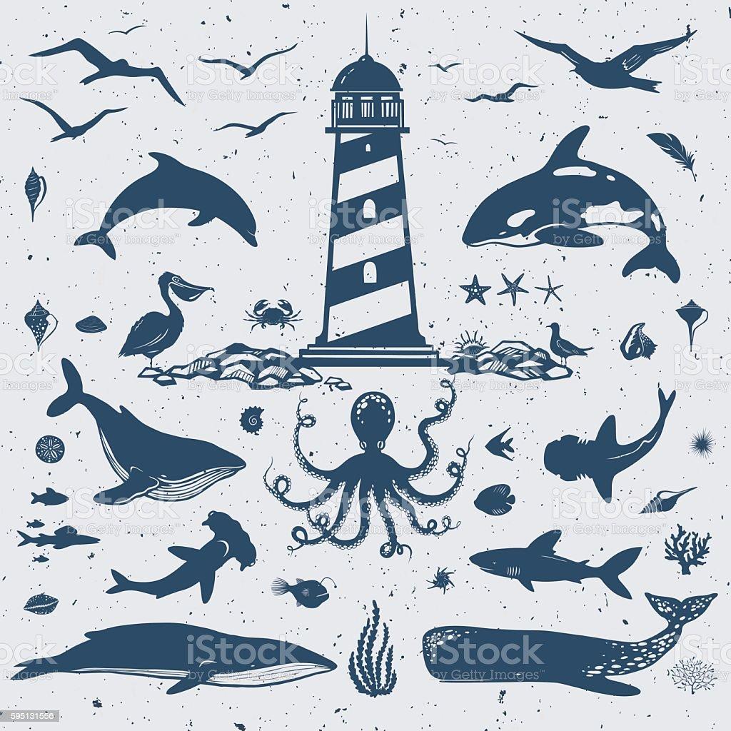 big nautical set vector art illustration