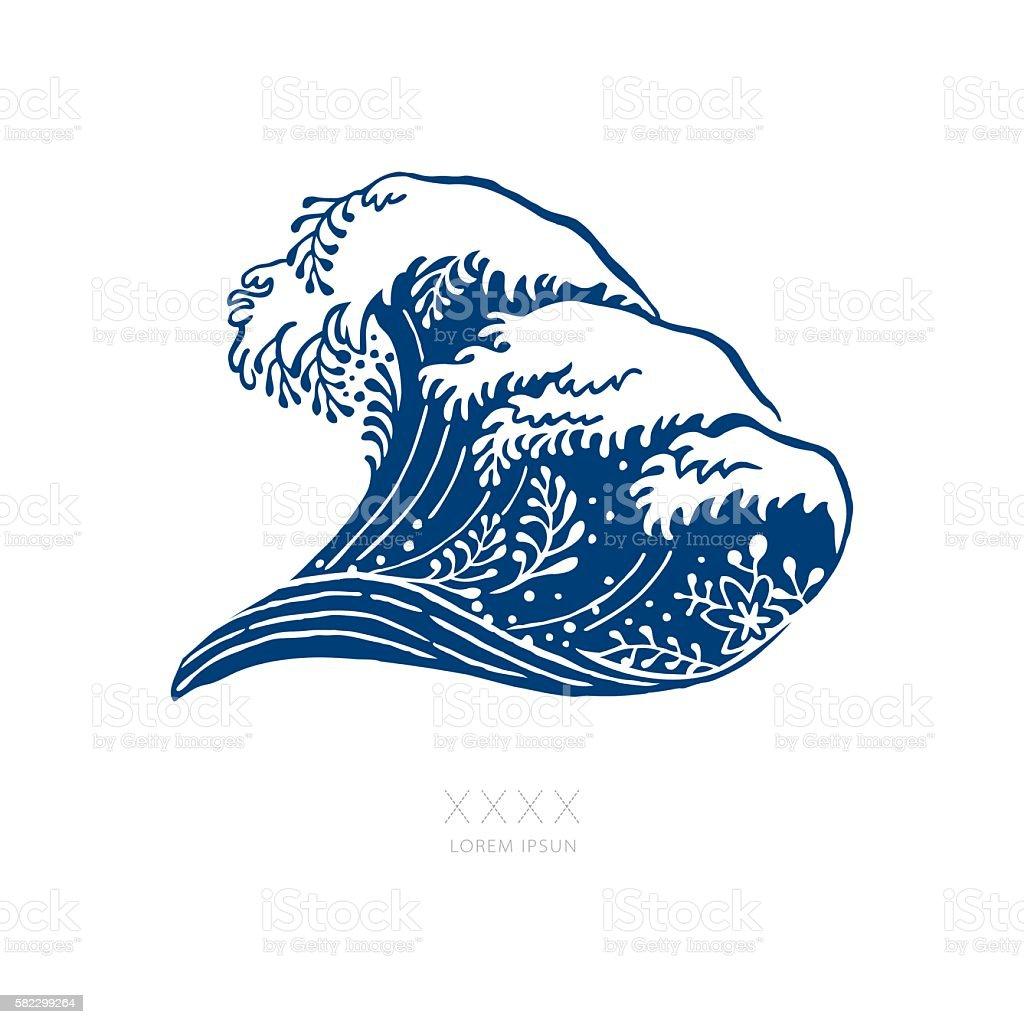 Big Navy Blue Wave Japanese Style vector art illustration