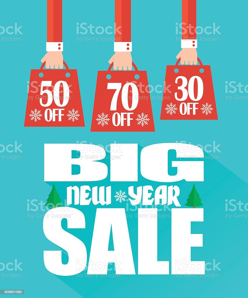 Big New Year Sale modern flat design vector art illustration