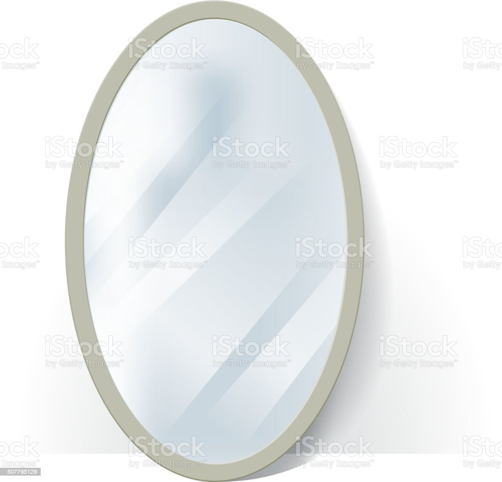 Big oval mirror with blurry reflection at the wall illustration. vector art illustration