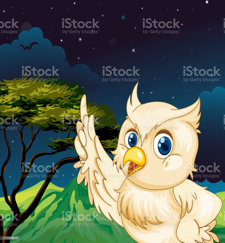 Big owl in the jungle royalty-free stock vector art