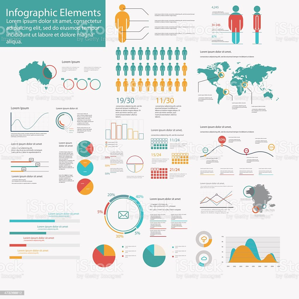Big pack of data visualization vector infographics and elements web infographics vector art illustration