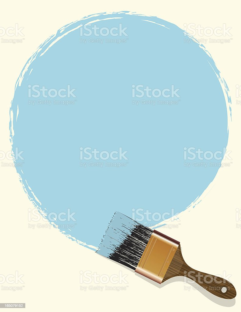 A big paintbrush painting some sky blue shade  royalty-free stock vector art