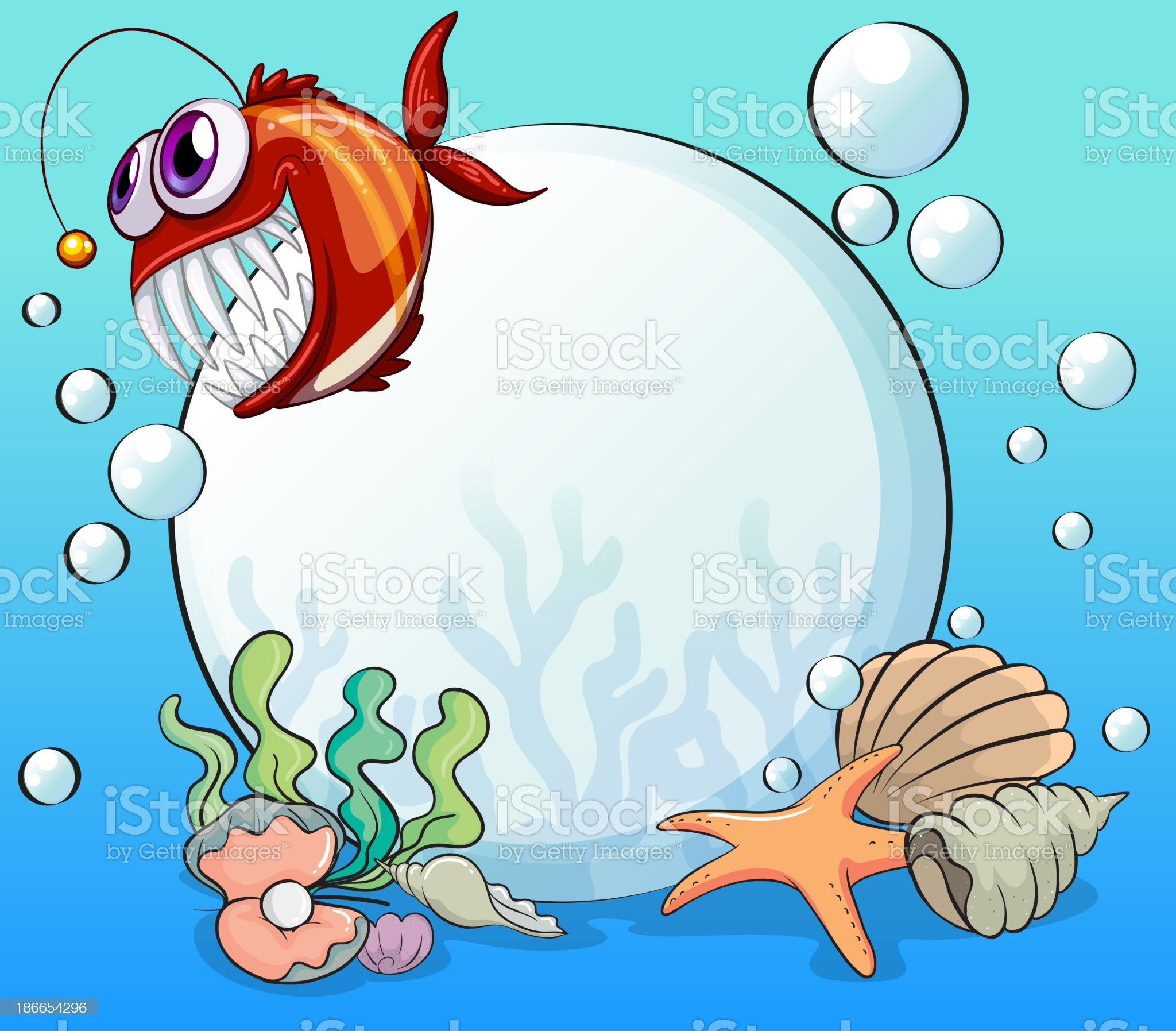 big pearl and the smiling piranha under sea royalty-free stock vector art