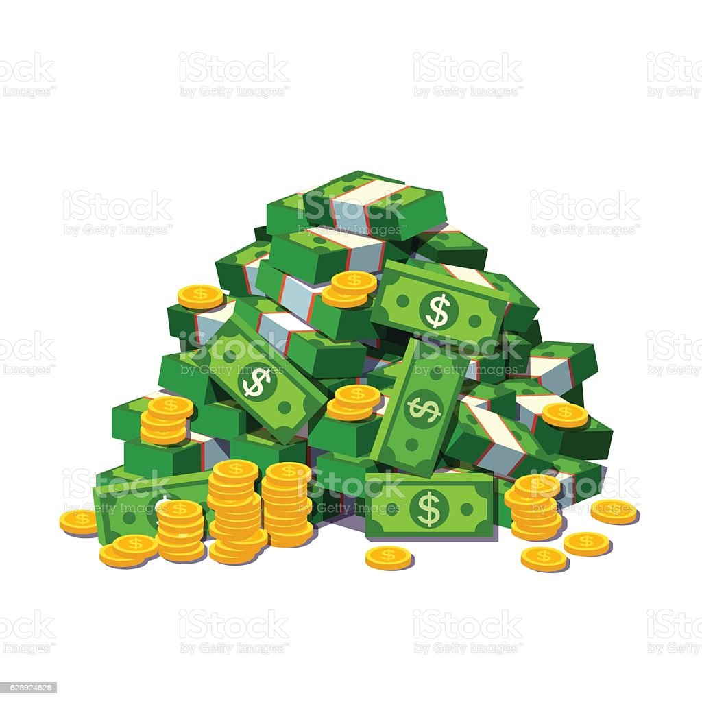 Big pile of cash money and some gold coins vector art illustration
