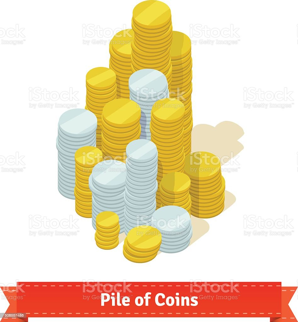 Big pile of coins. Gold and silver vector art illustration