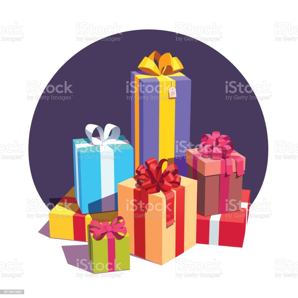 Big pile of colorful wrapped gift boxes vector art illustration